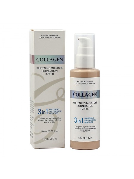 ENOUGH Collagen Whitening Moisture Foundation 3 in 1. Тон 21